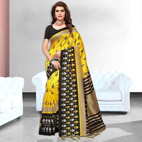 Rich Yellow Colored Festive Wear Art Silk Saree