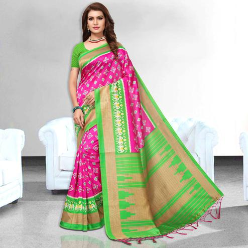 Astonishing Pink Colored Festive Wear Art Silk Saree