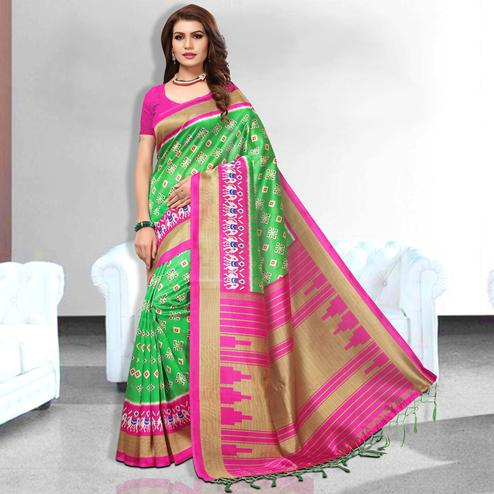 Graceful Green Colored Festive Wear Art Silk Saree