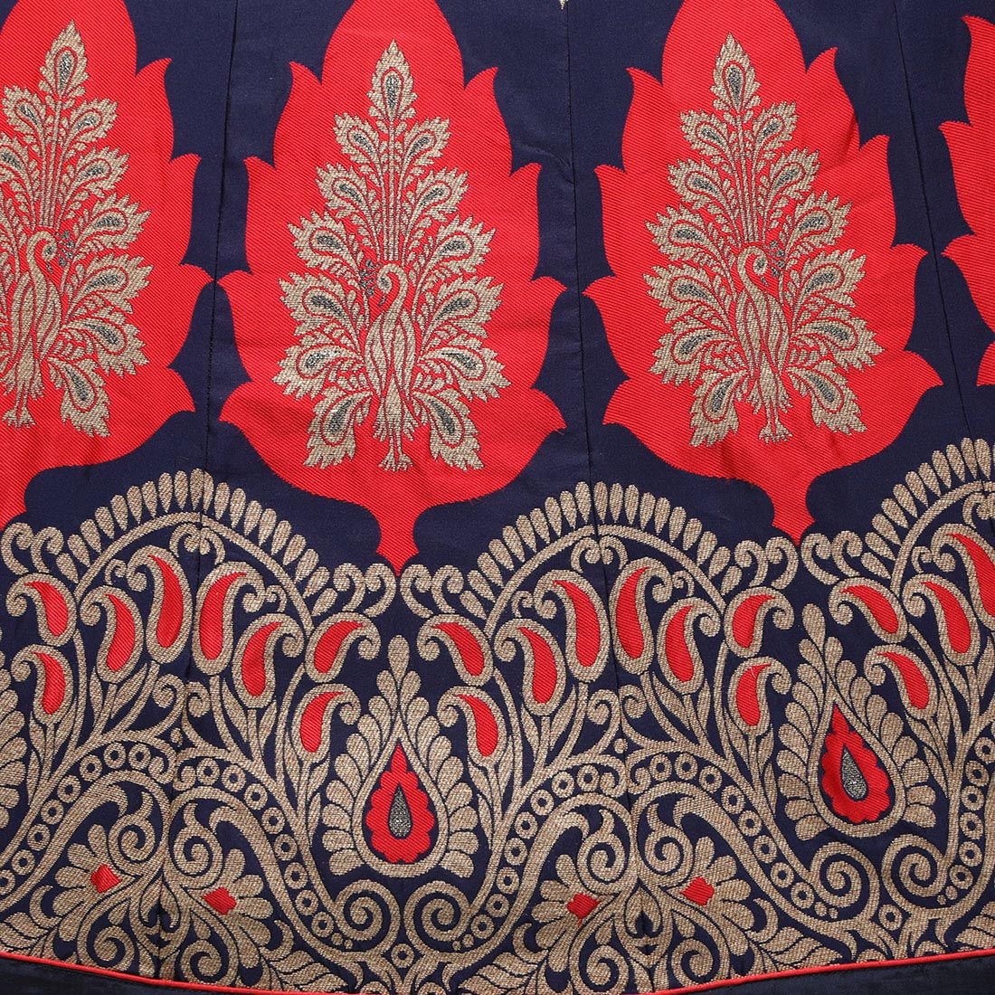 Blue - Red Jacquard Work Lehenga Choli