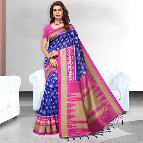 Striking Blue Colored Festive Wear Art Silk Saree