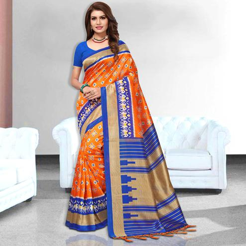 Glorious Orange  Colored Festive Wear Art Silk Saree