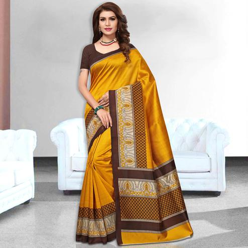 Exquisite Yellow  Colored Casual Wear Art Silk Saree