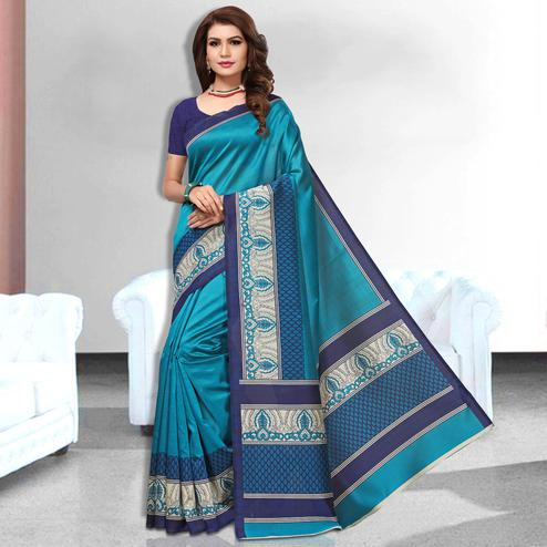 Wishful Blue Colored Casual Wear Art Silk Saree