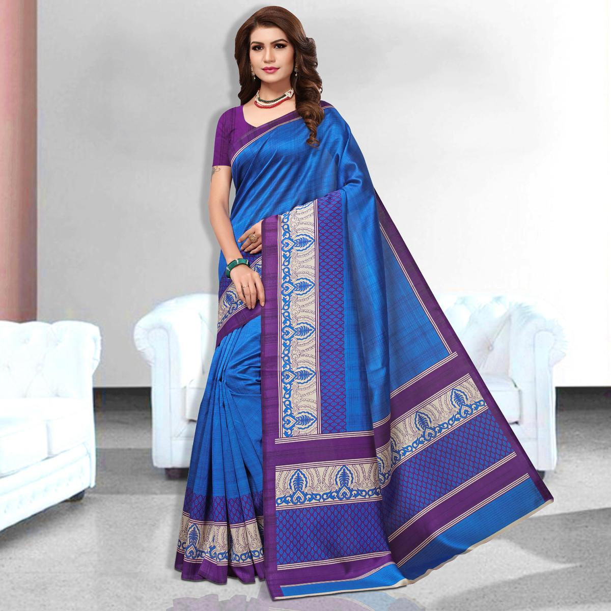 Exclusive  Blue Colored Casual Wear Art Silk Saree