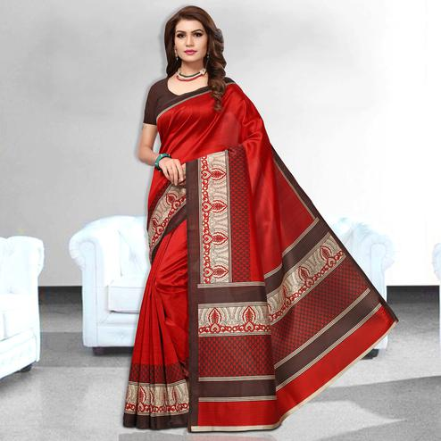 Pleasureable Red Colored Casual Wear Art Silk Saree