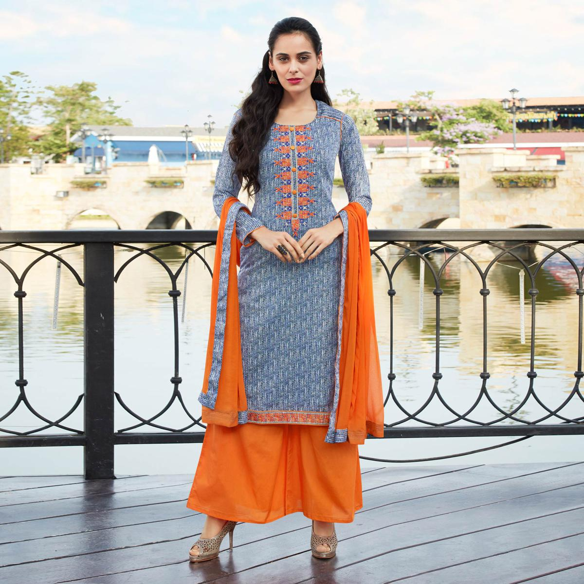 Trendy Gray Colored Casual Printed Cotton Salwar Suit