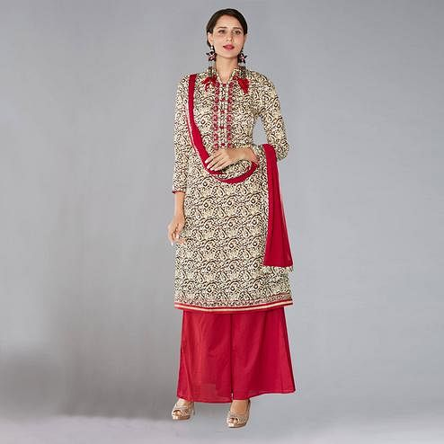 Classy Beige Colored Casual Printed Cotton Salwar Suit