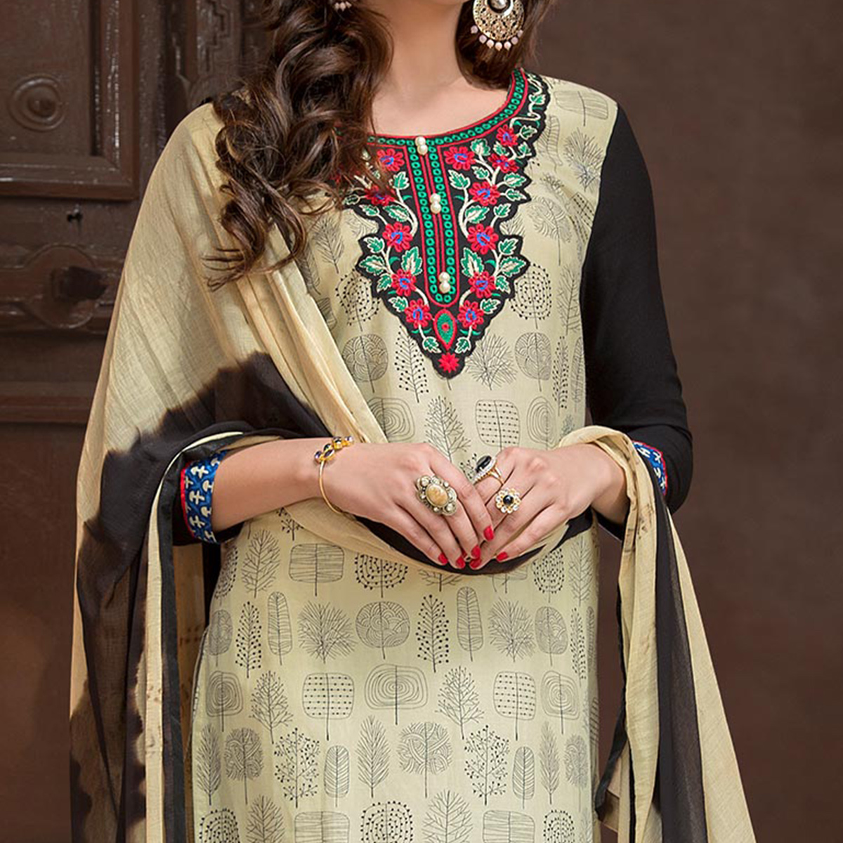 Lovely Beige-Black Colored Casual Printed Cotton Salwar Suit
