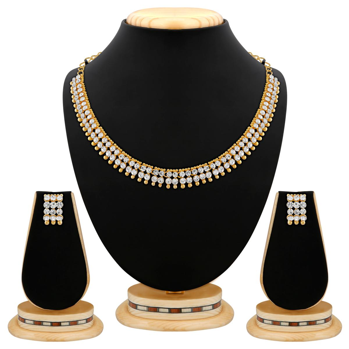 Classy Gold Plated Austrian Stone  Necklace Set