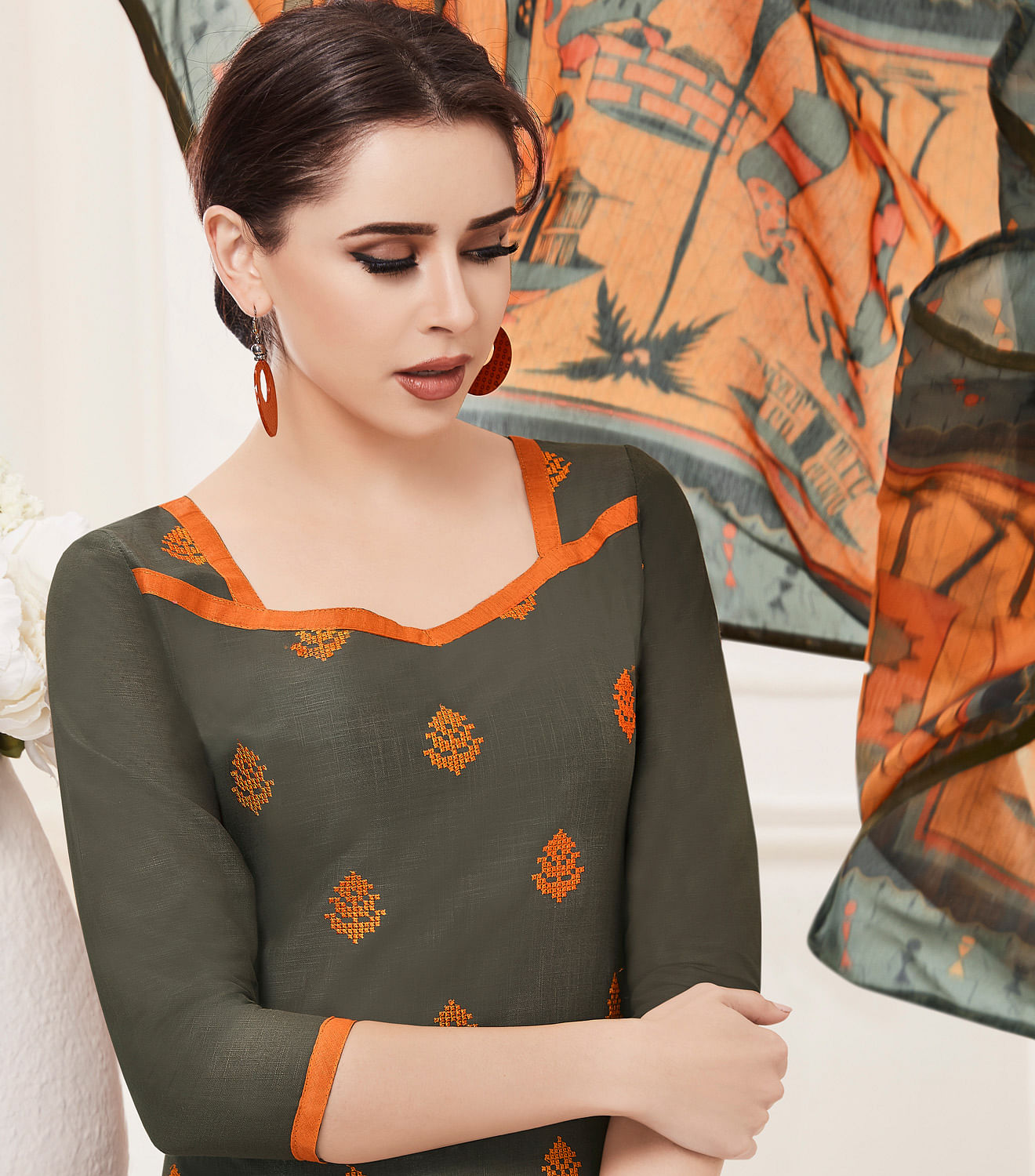 Beautiful Gray-Orange Colored Embroidered Cotton Salwar Suit