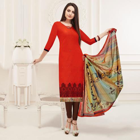 Glowing Red Colored Embroidered Cotton Salwar Suit