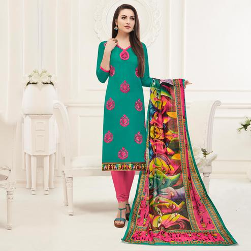 Mesmeric Turquoise Green Colored Embroidered Cotton Salwar Suit