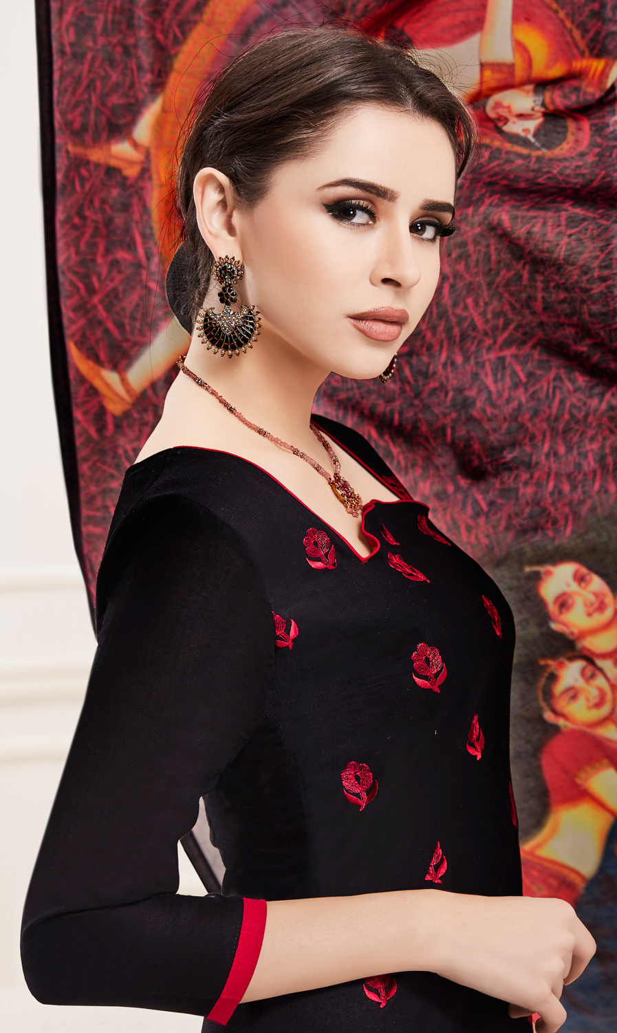Arresting Black Colored Embroidered Cotton Salwar Suit