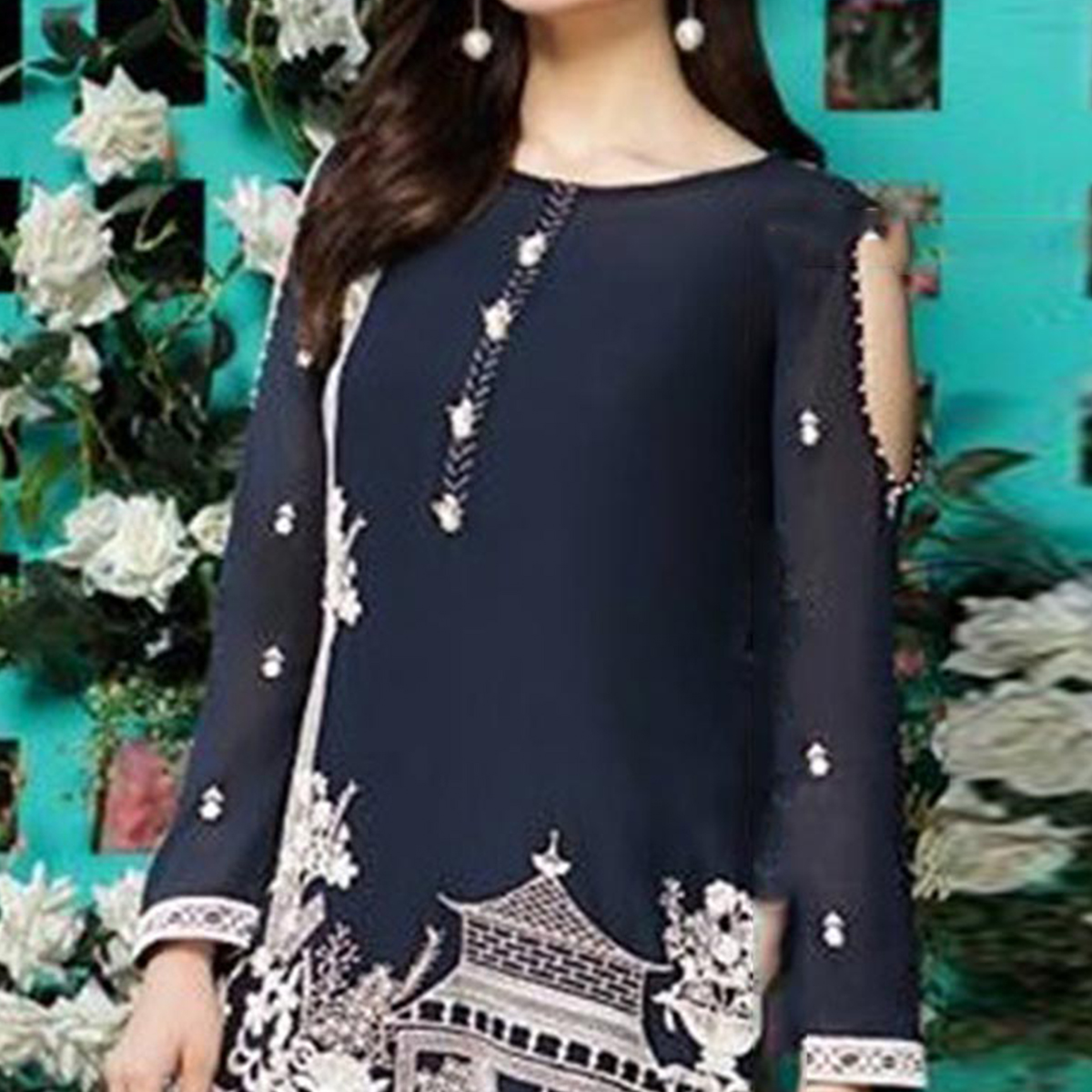 Gorgeous Navy Blue Colored Partywear Digital Printed Georgette Suit