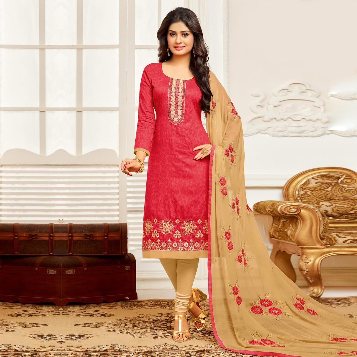 Pretty Peach Colored Festive Wear Embroidered Cotton Braso Salwar Suit