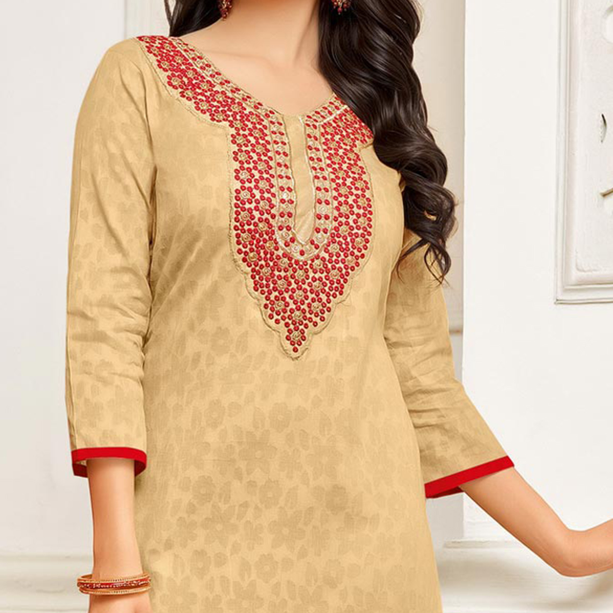 Pleasance Beige-Red Colored Festive Wear Embroidered Cotton Braso Salwar Suit