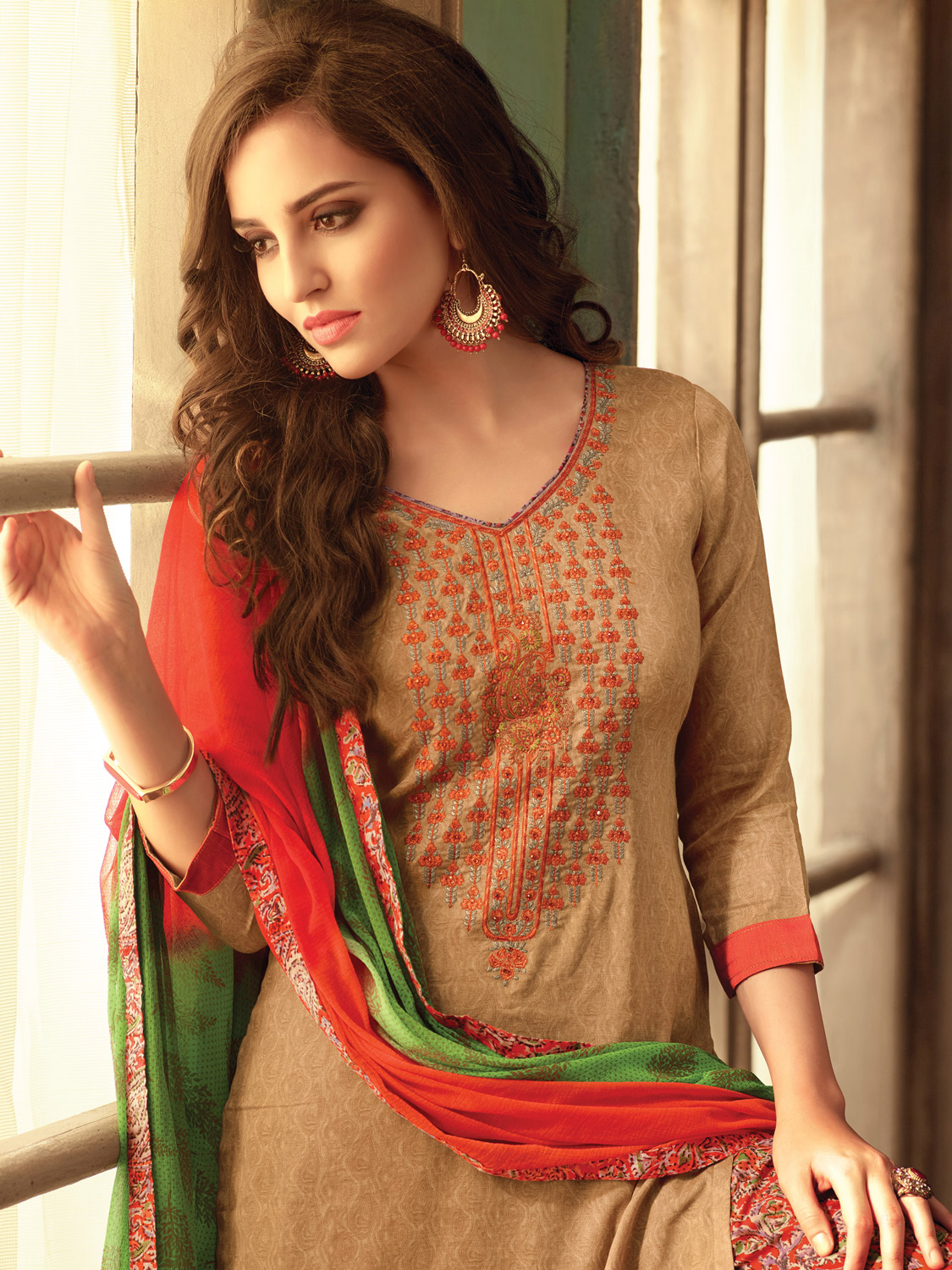 Adorning Beige Colored Festive Wear Embroidered Cotton Salwar Suit