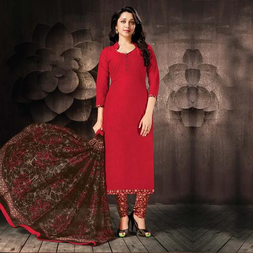 Desiring Red Colored Casual Wear Cotton Salwar Suit