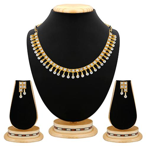 Exclusive Diamond Design Gold Finishing  Necklace Set