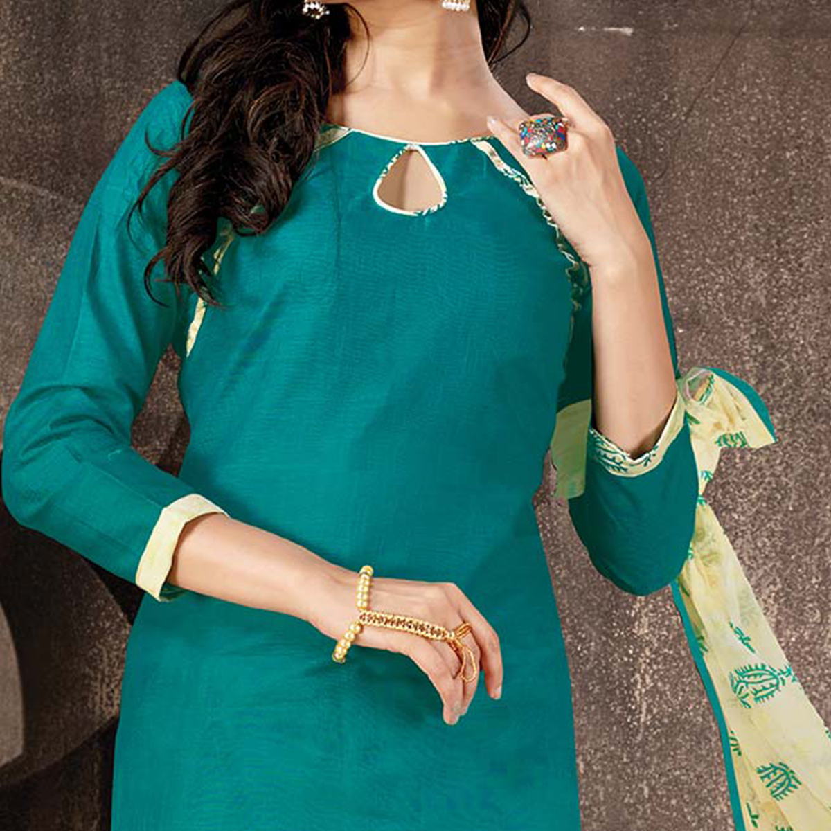 Opulent Aqua Green Colored Casual Wear Cotton Salwar Suit