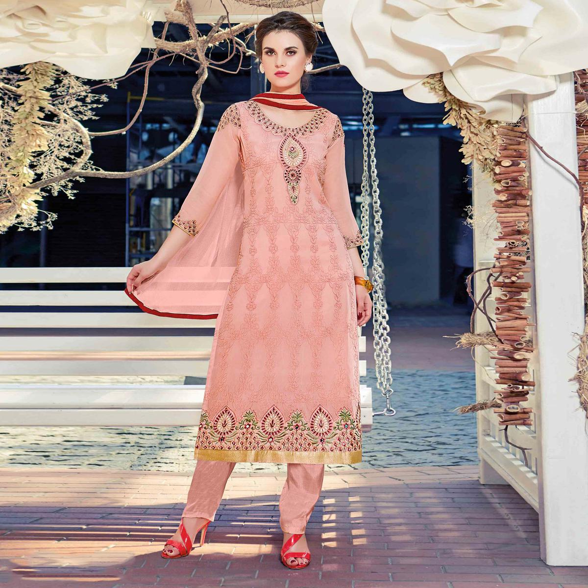 Awesome Pink Colored Partywear Embroidered Georgette Salwar Suit