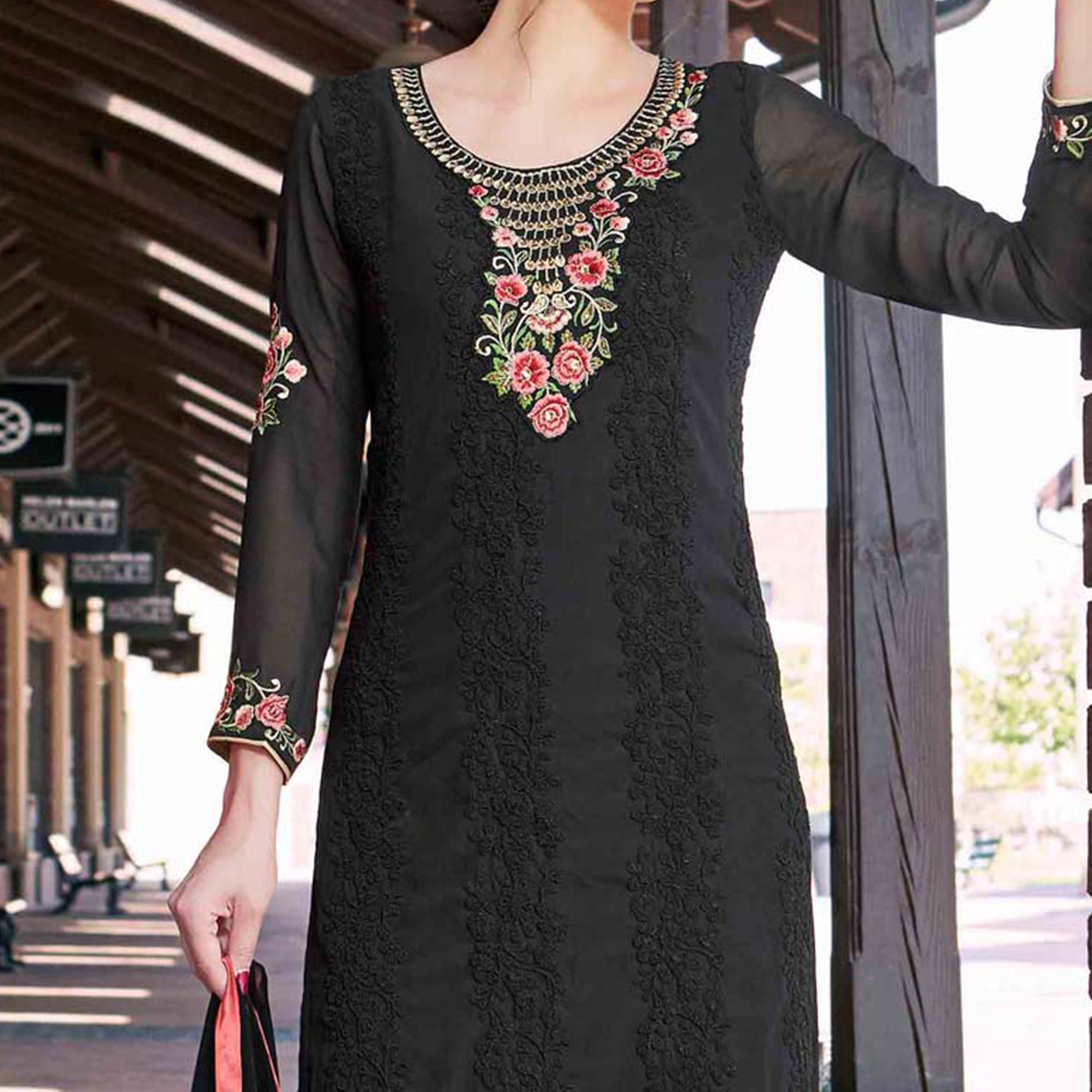 Attractive Black Colored Partywear Embroidered Georgette Salwar Suit