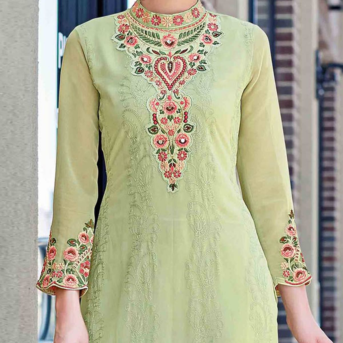 Impressive Light Green Colored Partywear Embroidered Georgette Salwar Suit