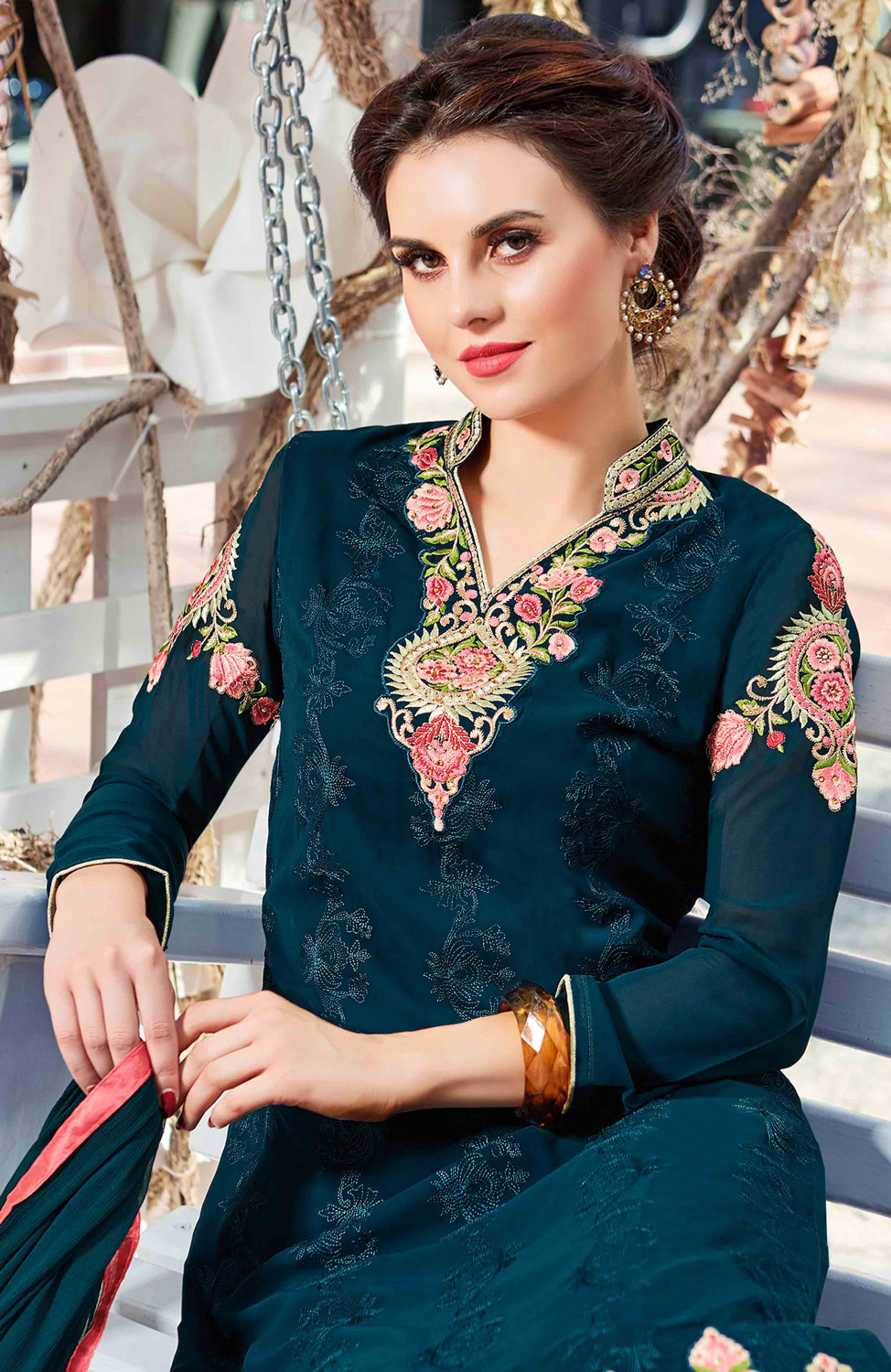 Exceptional Teal Blue Colored Partywear Embroidered Georgette Salwar Suit