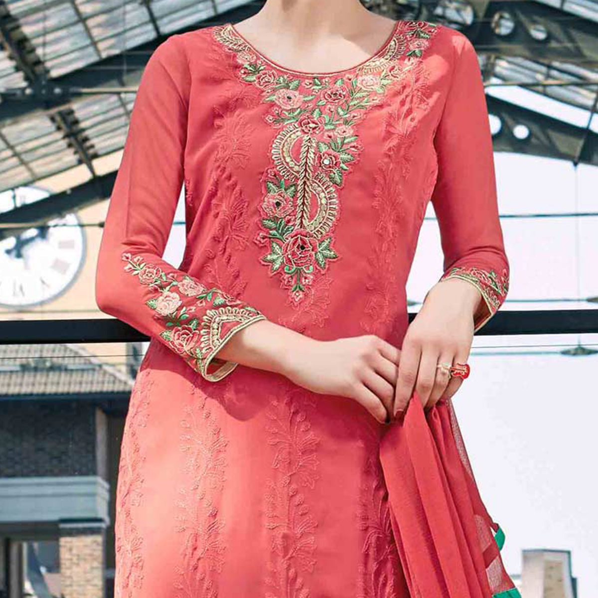 Beautiful Peach Colored Partywear Embroidered Georgette Salwar Suit