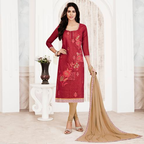 Elegant Red Colored Embroidered Chanderi Silk Salwar Suit