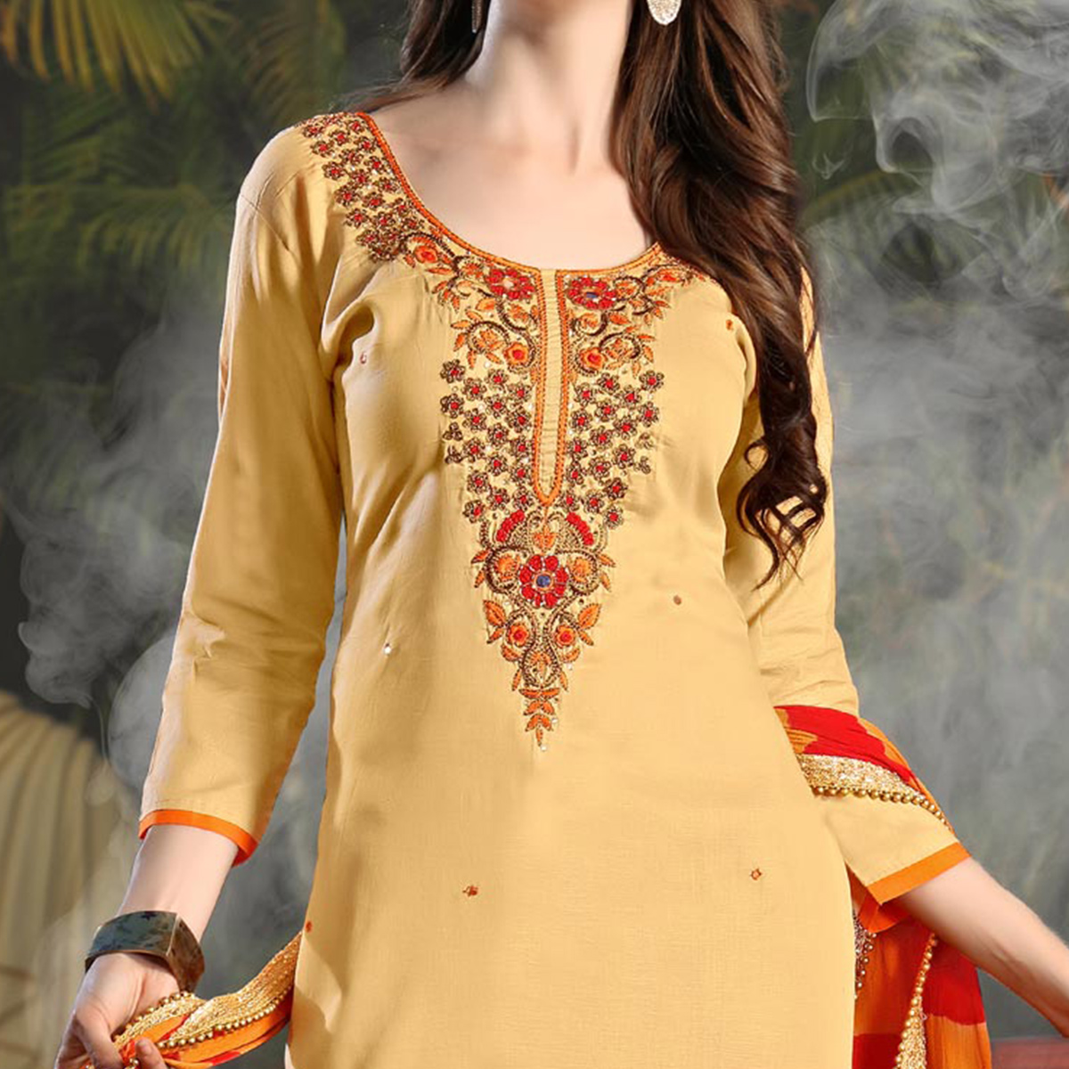 Trendy Beige Colored Embroidered Cotton Salwar Suit
