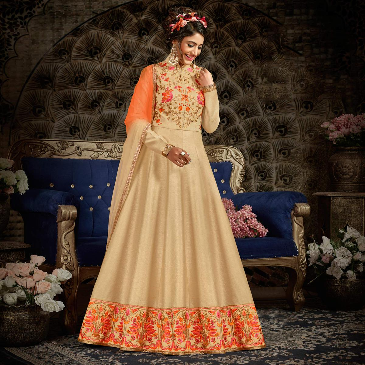 Mesmericing Beige Colored Parytwear Embroidered Art Silk Anarkali Suit