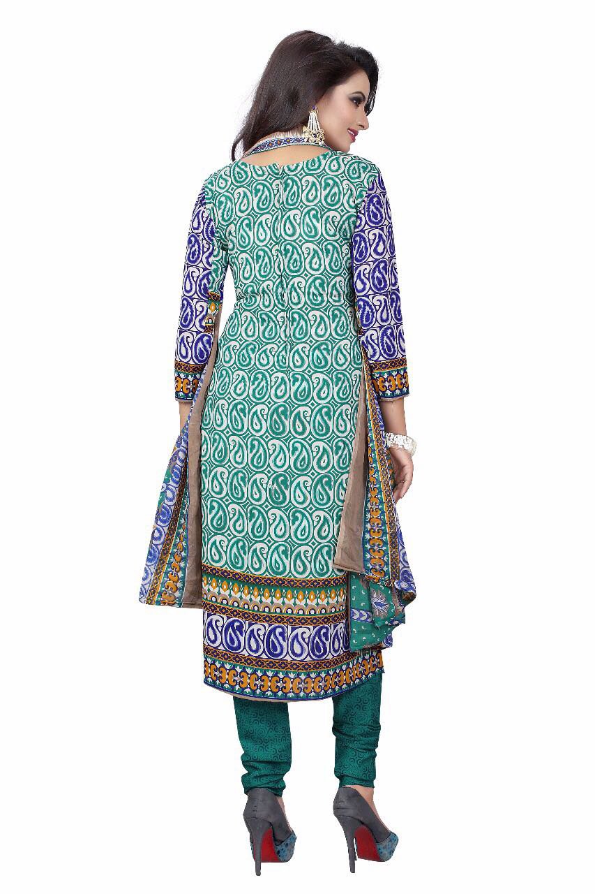 Green - Blue Printed Leon Dress Material