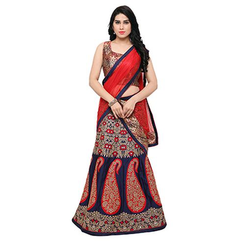 Red - Blue Jacquard Work Lehenga Choli