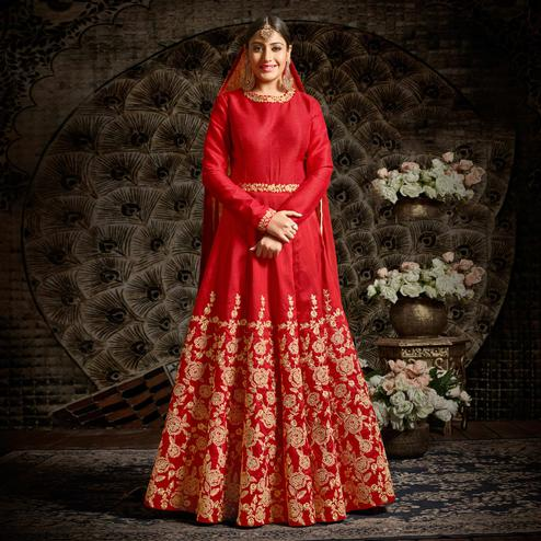 Glowing Red Colored Parytwear Embroidered Art Silk Anarkali Suit