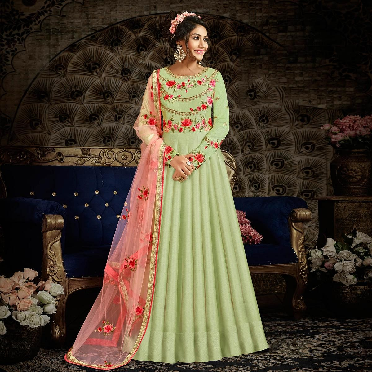 Excellent Pista Green Colored Parytwear Embroidered Art Silk Anarkali Suit