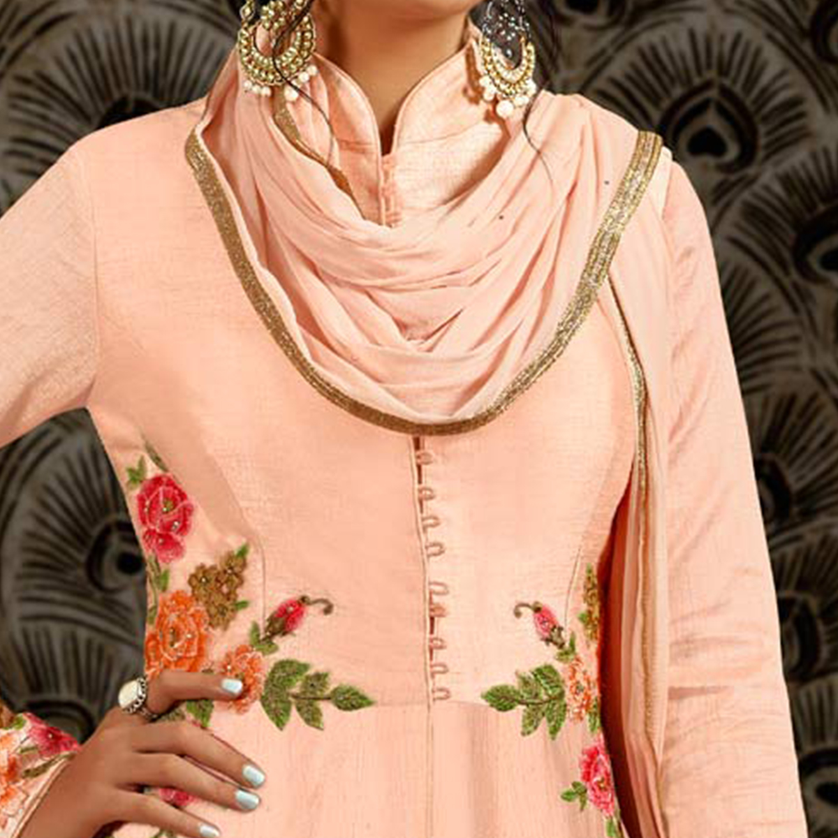 Smart Peach Colored Parytwear Embroidered Art Silk Anarkali Suit