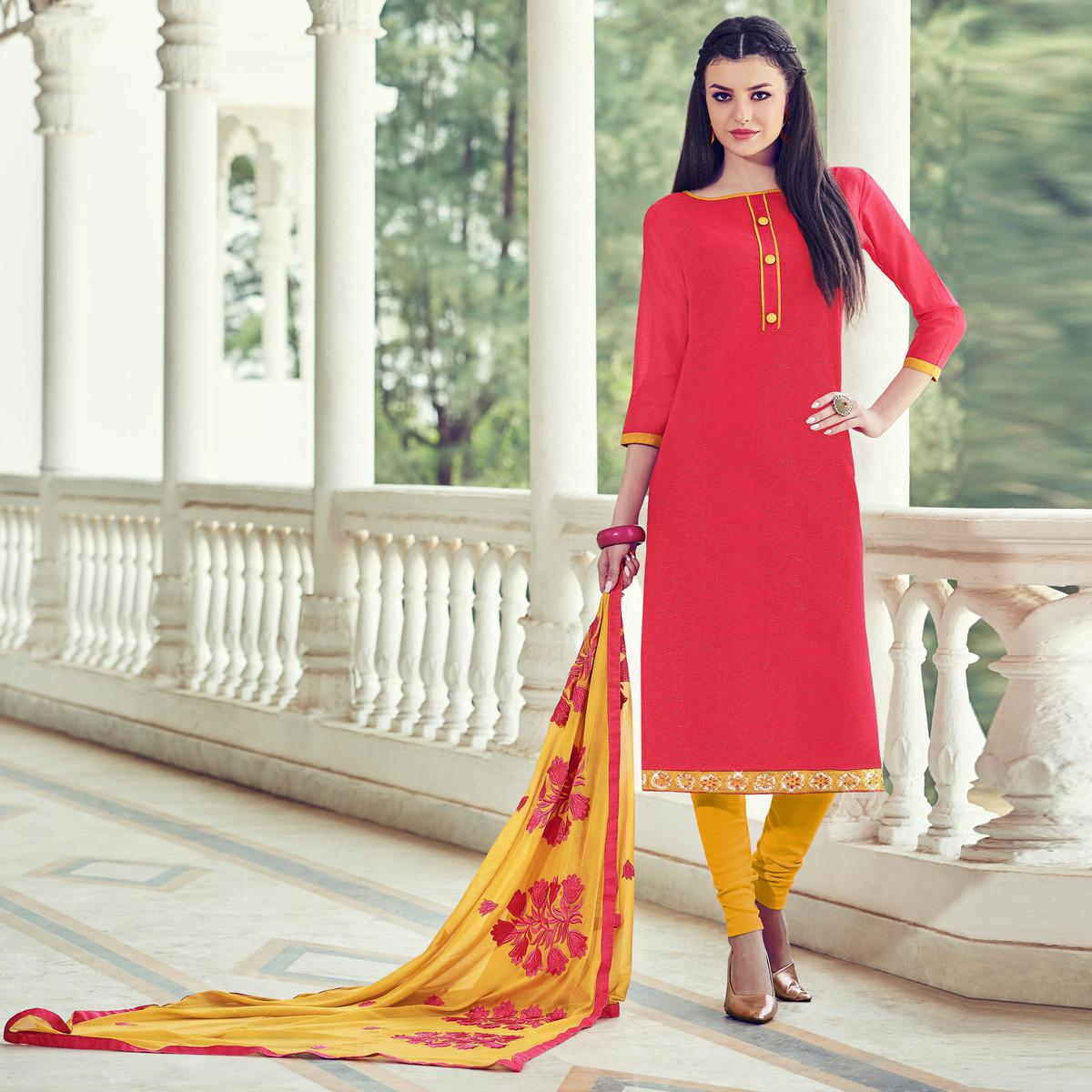 Dazzling Dark Pink Colored Casual Wear Chanderi Silk Salwar Suit
