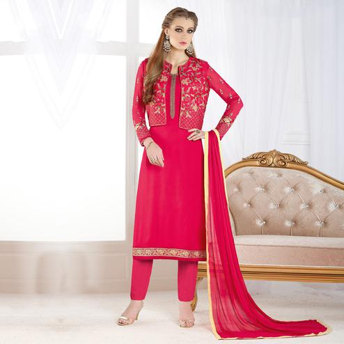 Deserving Pink Colored Partywear Embroidered Geogette Salwar Suit