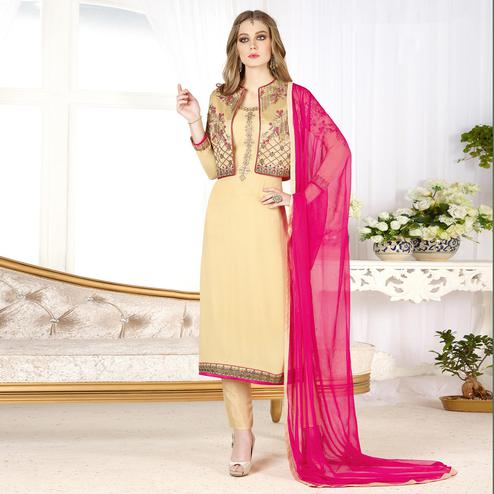 Impressive Beige Colored Partywear Embroidered Geogette Salwar Suit