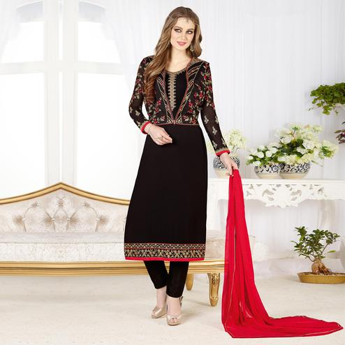 Bold Black Colored Partywear Embroidered Geogette Salwar Suit
