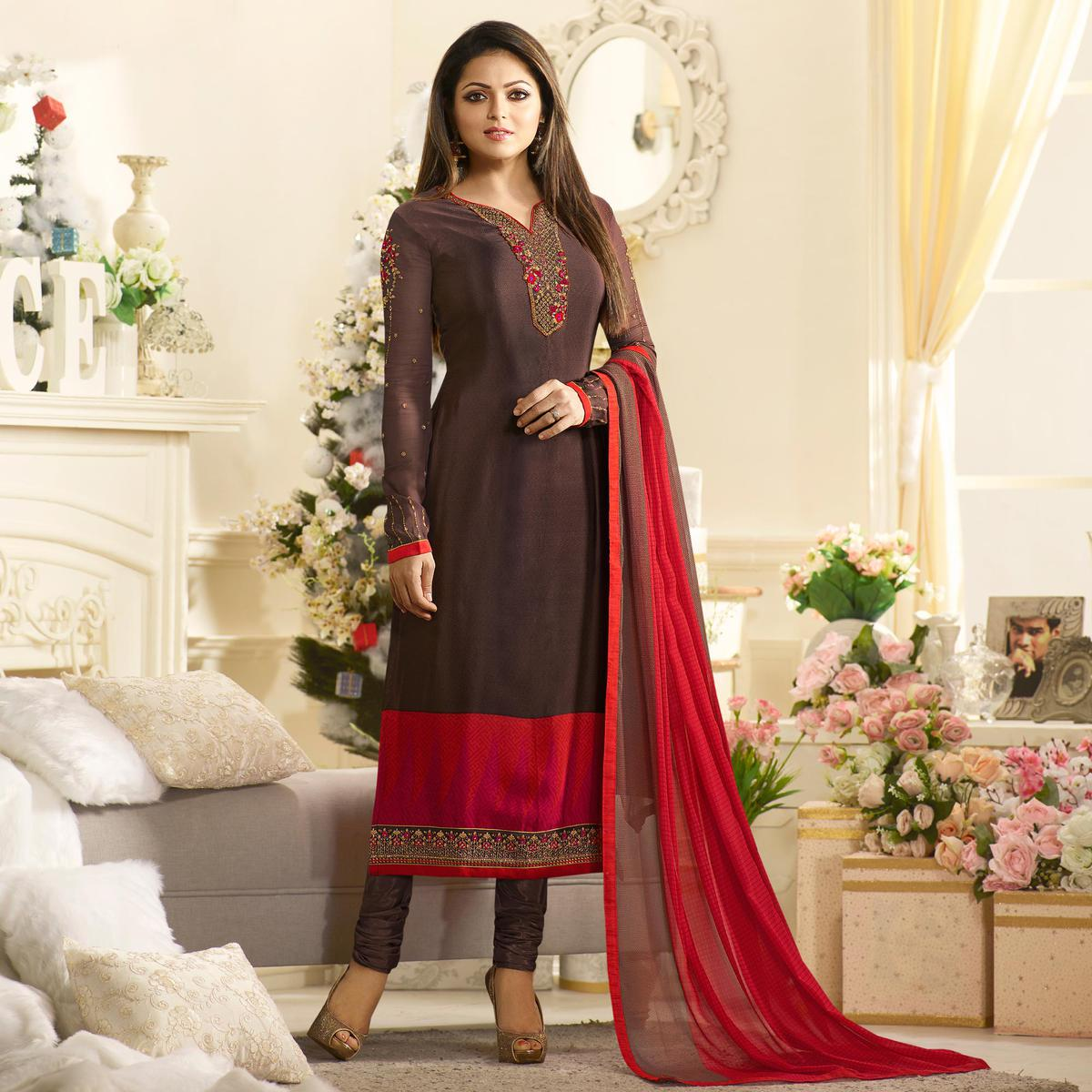 Groovy Brown Colored Partywear Embroidered Salwar suit