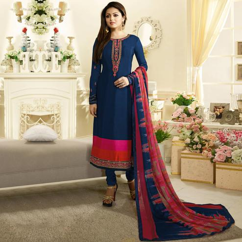 Navy Blue Colored Floral Embroidered Work Crape Salwar Suit