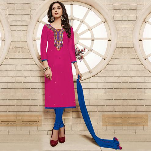Pink Colored Floral Embroidered Work Cotton Salwar Suit