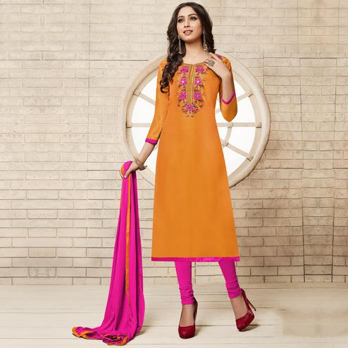 Orange Colored Floral Embroidered Work Cotton Salwar Suit