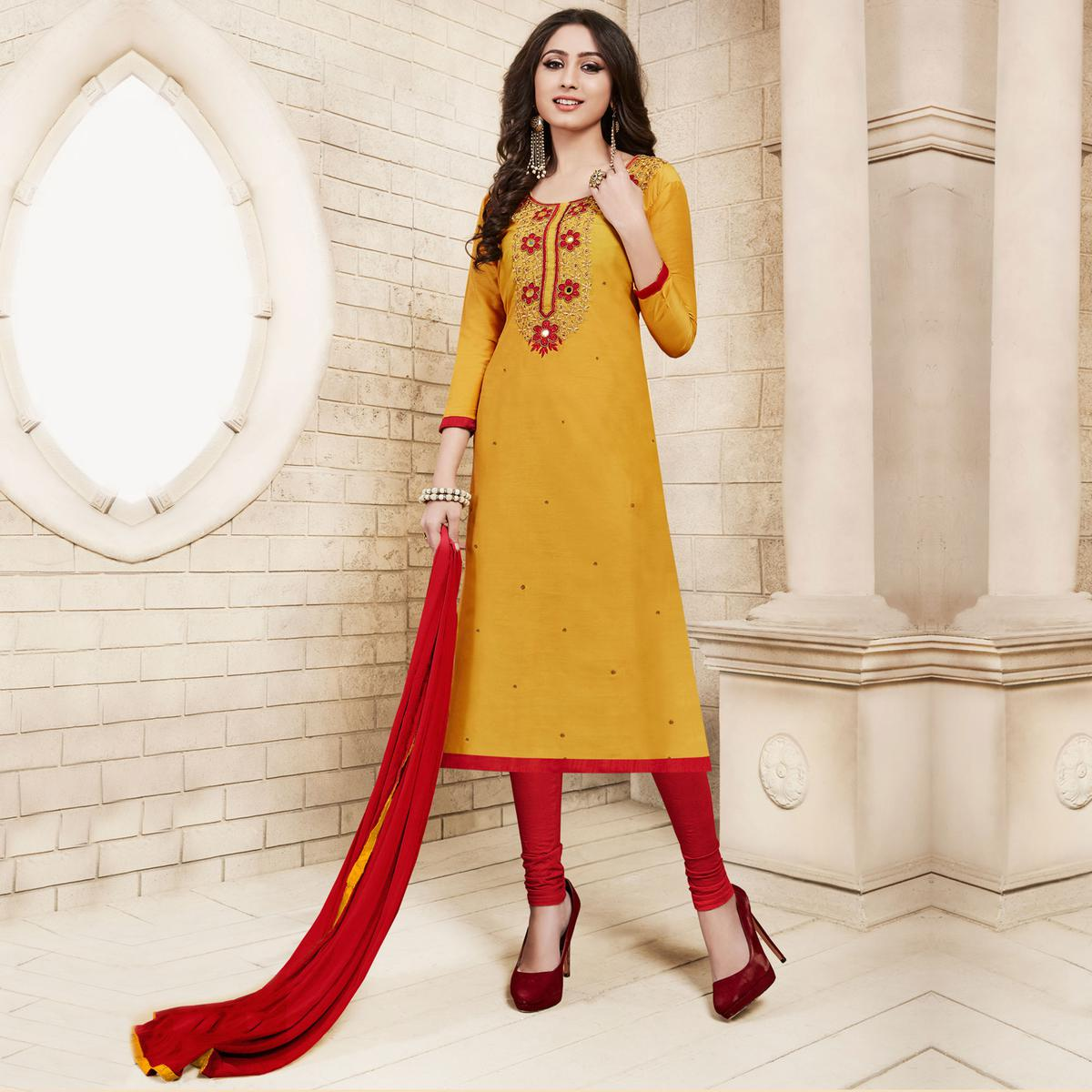 Yellow Colored Floral Embroidered Work Cotton Salwar Suit