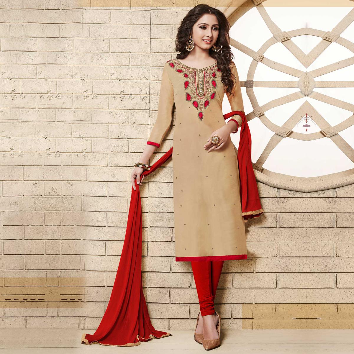 Beige Colored Floral Embroidered Work Cotton Salwar Suit