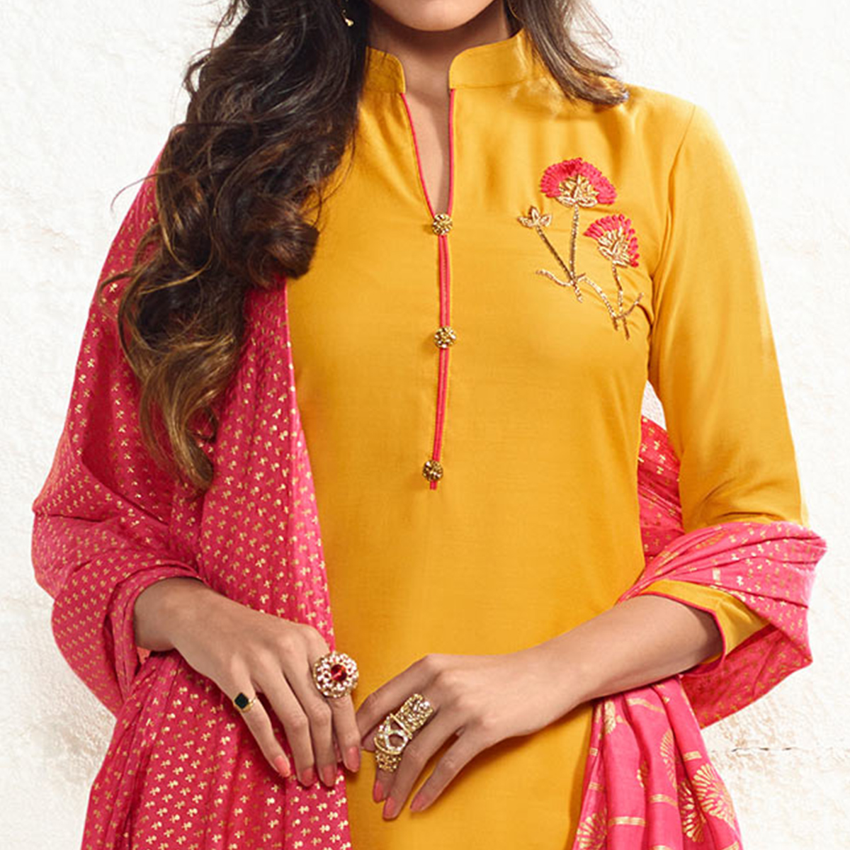 Yellow Colored Embroidered Work Cotton Silk Salwar Suit