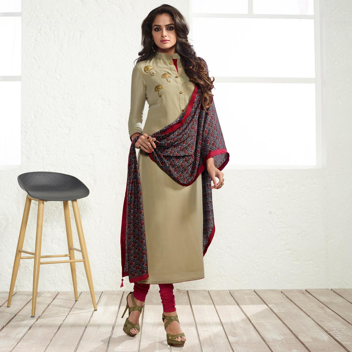 Beige Colored Embroidered Work Cotton Silk Salwar Suit